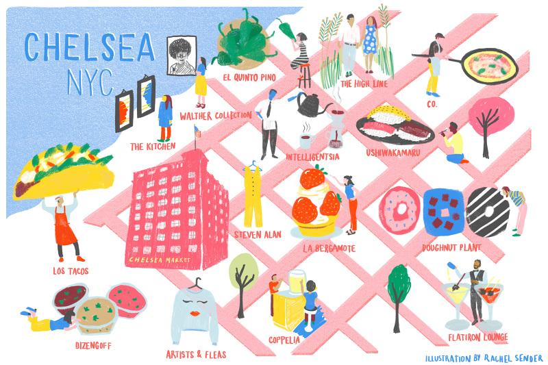 map illustration of chelsea map nyc for food52 rachel sender